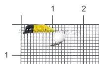 Мормышка Ручейник №3 d1.5 белая бусина, желтый