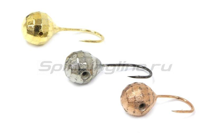 Мормышка Шар фигурный с отверстием d3 серебро -  2