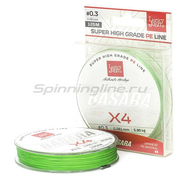 Шнур Lucky John Basara 125м 0,13мм Light Green -  1