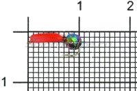 Мормышка Volfram37 Столбик d1.5 граненый шарик хамелеон красный