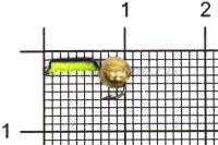 Мормышка Volfram37 Столбик d1.5 флуоресцентный латунный шарик