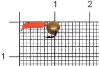 Мормышка Volfram37 Столбик d1.5 латунный шарик красный