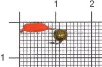 Мормышка Volfram37 Столбик d2 латунный шарик красный