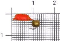 Мормышка Volfram37 Столбик d2.5 латунный шарик красный
