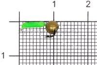 Мормышка Volfram37 Столбик d1.5 латунный шарик зеленый
