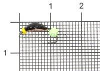 Мормышка Санхар Нимфа узкая №1 флуоресцентный шар зеленый, медь