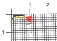Мормышка Санхар Столбик №1 d1.5 флуоресцентный шар красный, латунь