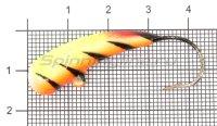 Мормышка Liman Fish Клык с ушком 12гр тигр оранжевый/желтый