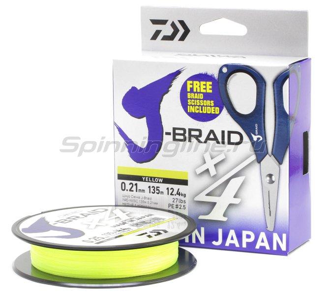 Шнур Daiwa J-Braid X4E-W/SC 135м 0,17мм желтый + ножницы -  1
