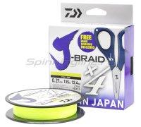 Шнур Daiwa J-Braid X4E-W/SC 135м 0,19мм желтый + ножницы