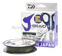 Шнур Daiwa J-Braid X4E-W/SC 135м 0,13мм зеленый + ножницы