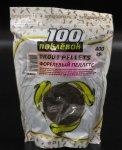 100 поклевок - Пеллетс прикормочный 100 Поклёвок Форелевый черный 400гр - фотография 1
